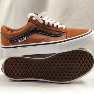 Details about Vans Old Skool Pro Glazed GingerBlackWhite Men's Classic Skate Shoes Size 7.5